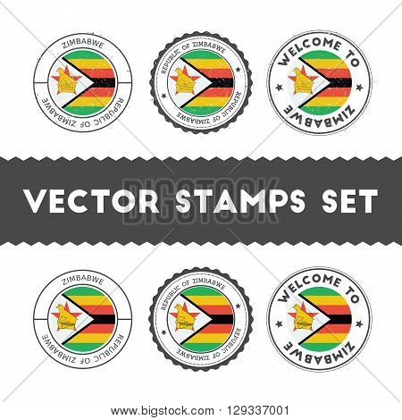 Zimbabwean Flag Rubber Stamps Set. National Flags Grunge Stamps. Country Round Badges Collection.