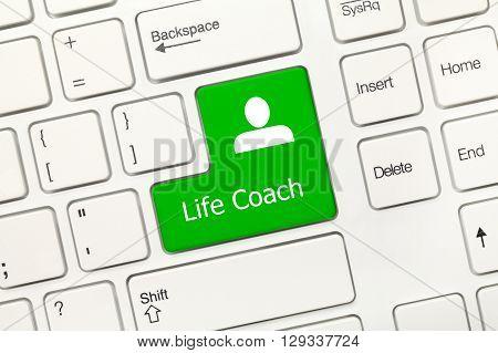 White Conceptual Keyboard - Life Coach (green Key)