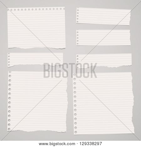 Pieces of ripped white lined notebook paper are stuck on light brown background.