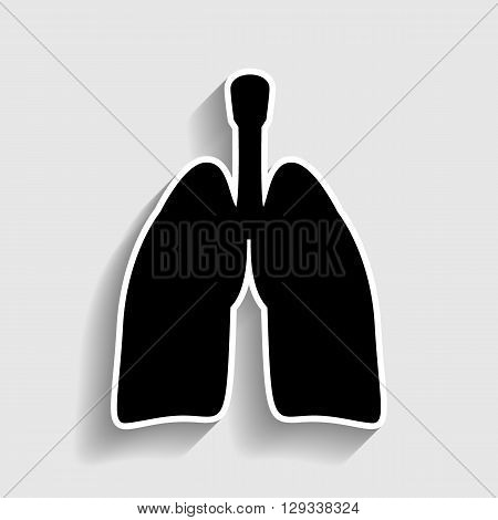 Human organs. Lungs sign. Sticker style icon with shadow on gray.