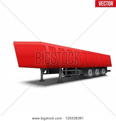Blank parked red tipper semi trailer with canvas cover. Perspective side view. Vector Illustration Isolated on white background