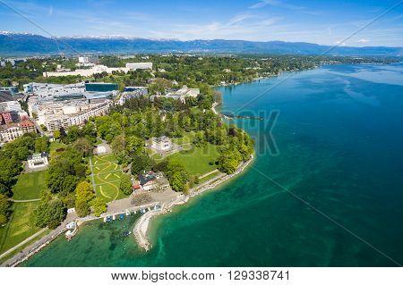 Aerial View Of Mon Repos Park   Geneva City In Switzerland