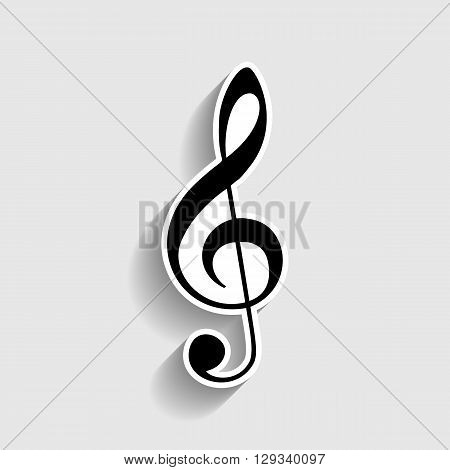 Music violin clef sign. G-clef. Treble clef. Sticker style icon with shadow on gray.