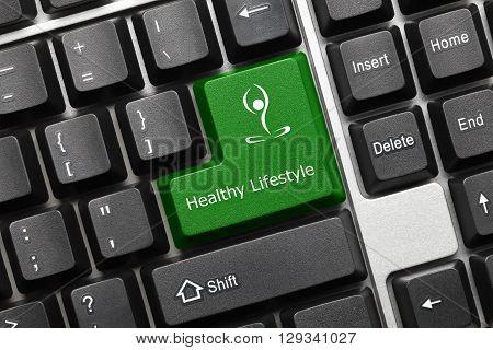 Conceptual Keyboard - Healthy Lifestyle (green Key With Yoga Symbol)