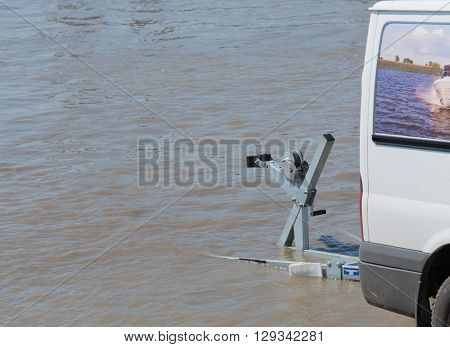 Jetski on a trailer is left in water