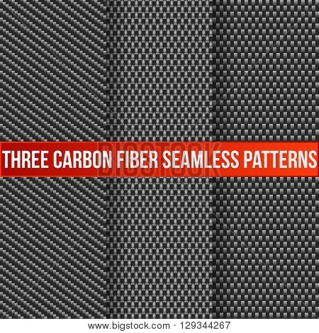 Set of three carbon fiber seamless patterns. Vector, eps10.