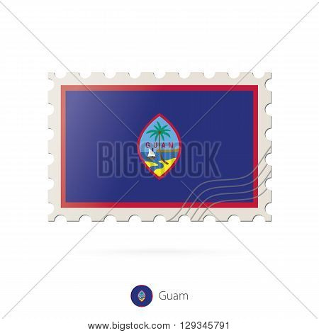 Postage Stamp With The Image Of Guam Flag.