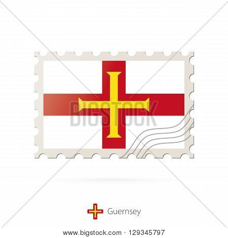 Postage Stamp With The Image Of Guernsey Flag.