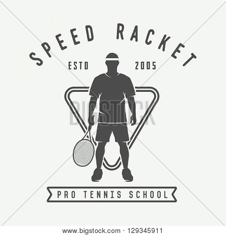 Vintage tennis logo badge emblem. Vector Illustration