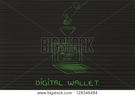 Hand Dropping Coin Into Laptop's Digital Wallet, Digital Wallet