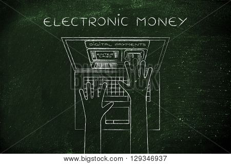 Atm Inside Laptop Screen With Hand Inserting Card, Electronic Money