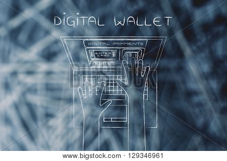 Atm Inside Laptop Screen With Hand Inserting Card, Digital Wallet