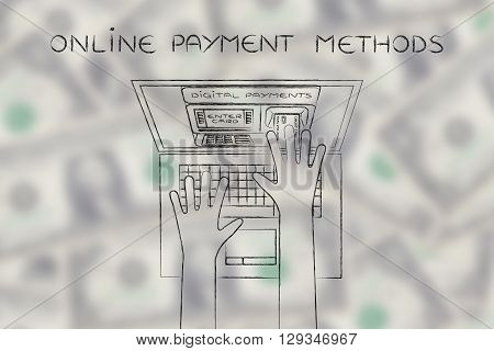 Atm Inside Laptop Screen With Hand Inserting Card,payment Methods