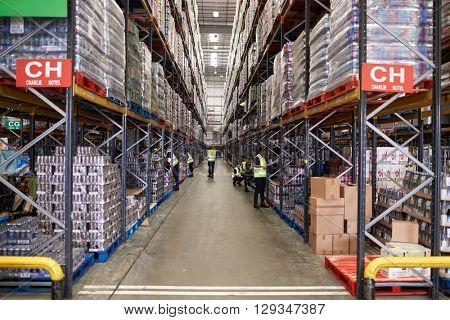 Stored goods in supermarket distribution warehouse, low angle