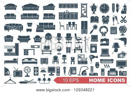 Household items. The furniture and appliances. Vector icons