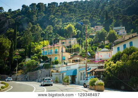 Eze, France - June 28, 2015: Traffic on in suburbs of city Eze in France