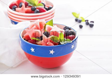 Fruit salad with star shaped watermelon and blueberries