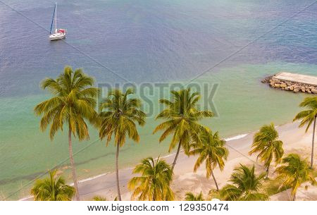 The caribbean beach Martinique island French West Indies.