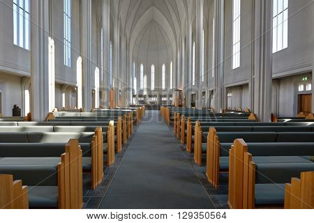 REYKJAVIK, ICELAND - MAY 4, 2016: Interior of Hallgrimskirkja cathedral in Reykjavik, Iceland. This is Iceland's largest church.