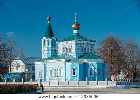 Korma, Belarus - March 15, 2016: St. John the Korma convent church in Korma Village, Dobrush District, Belarus. Famous Orthodox Church.