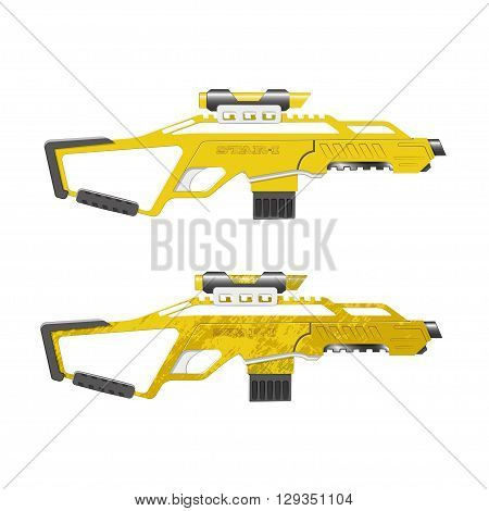 Assault rifle in cartoon style. Game's weapon. Vector illustration