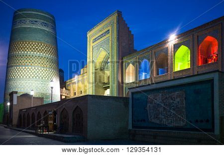 Khiva Uzbekistan - Aprilr 14 2014: The night view of the Kalta Minor minaret at Muhammad Amin Khan Madrassah