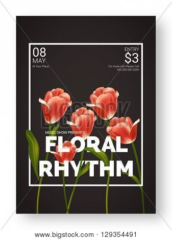 Beautiful glossy flowers decorated, Floral Rhythm, Musical Show Template, Dance Party Flyer or  Night Party Banner design.