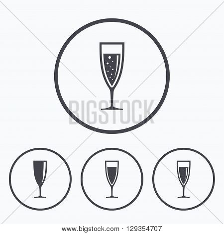 Champagne wine glasses icons. Alcohol drinks sign symbols. Sparkling wine with bubbles. Icons in circles.