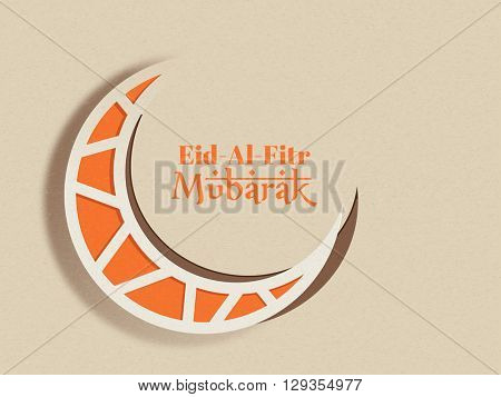 Elegant greeting card design with creative Paper Crescent Moon for Islamic Famous Festival, Eid-Al-Fitr celebration.
