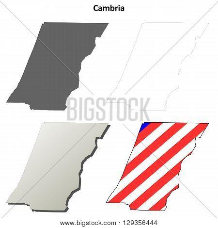Cambria County, Pennsylvania blank outline map set