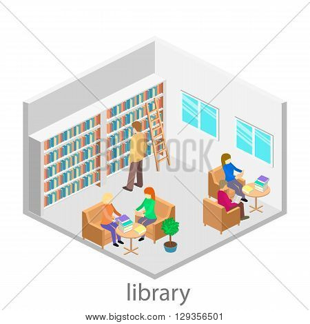 Isometric Interior Of Library