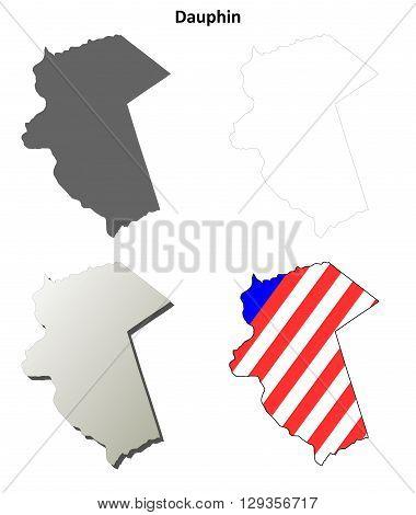 Dauphin County, Pennsylvania blank outline map set