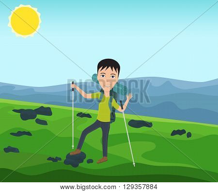 Funny man with a backpack goes hiking and waves his hand. Theme of hiking, walking, trekking, climbing. Vector illustration.