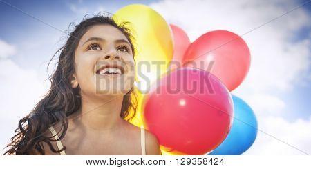 Happy Girl Dozen Helium Balloons Playful Concept