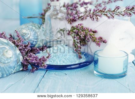 Flowers Lying On And Candle Spa Set