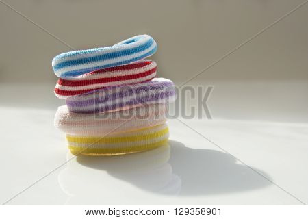 Colorful scrunchy of different colors on the table