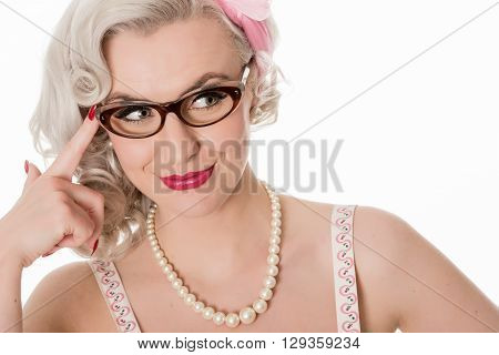 Cute Studious Girl Wearing Spectacles, Isolated On White, Horizontal Format