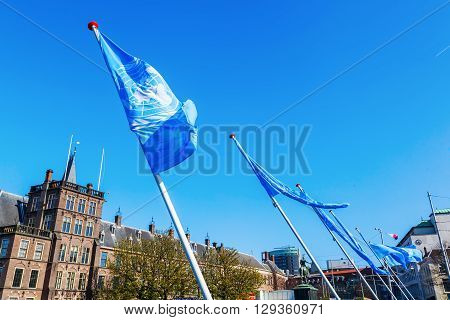 UNO flags at the Binnenhof seat of the Dutch Parliament in The Hague Netherlands