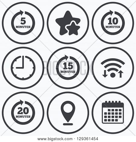 Clock, wifi and stars icons. Every 5, 10, 15 and 20 minutes icons. Full rotation arrow symbols. Iterative process signs. Calendar symbol.
