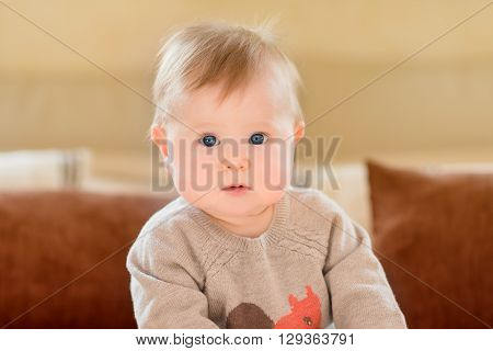 Portrait of amazed little child with blond hair and blue eyes wearing knitted sweater sitting on sofa and looking at camera. Happy childhood
