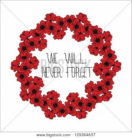 Design circle card for Memorial day with hand lettering and red poppies flowers. Text - Memorial Day. Frame for Memorial Day design.
