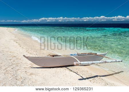 Beautiful beach against seaview with boat at Balicasag island, Philippines