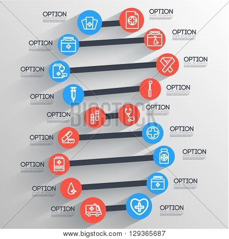 Dna Medical Infographic Backgrounds. Vector Illustration Element