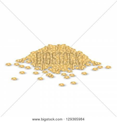 Golden coin heap isolated on white background. Golden coin heap icon. Heap of golden coins.