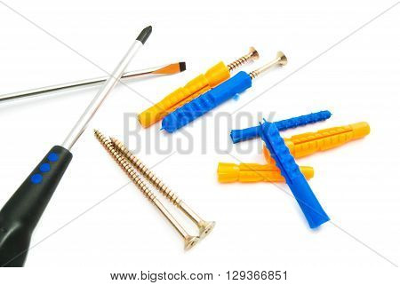 Colored Dowels, Screws And Screwdrivers
