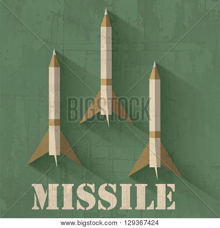 Grunge Missile Icon Background Concept. Vector Illustration Desi