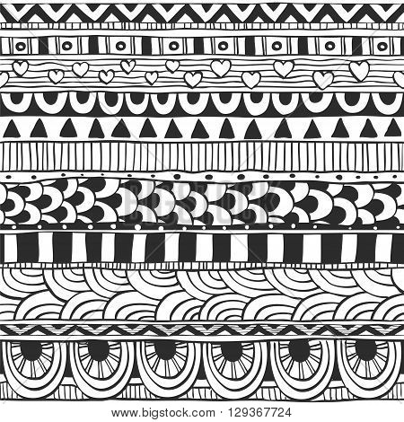 Seamless ornament from geometric elements doodles in ethnic style black and white