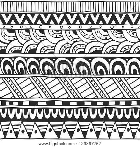 Seamless ornament from doodles and geometric elements in ethnic style black and white