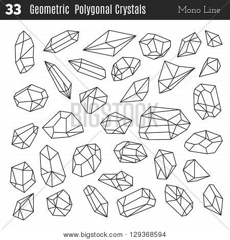 Geometric polygonal crystals in mono line style isolated on white background. Geometric shapes. Trendy hipster retro backgrounds and logotypes. Crystal icons web. Crystal icons big. Crystal icon ui.