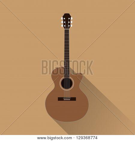 An acoustic guitar with concert shape. Top cedar.